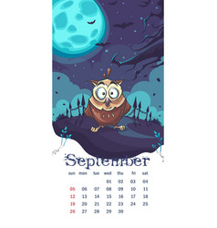 2021 calendar september funny cartoon owl vector
