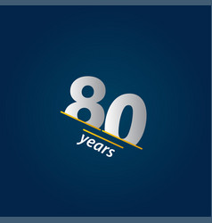 80 years anniversary celebration blue and white vector