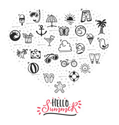 A set of summer icons hello summer banner from vector