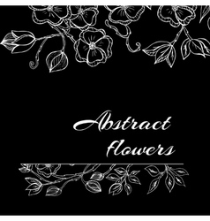 Abstract background with flowers in black and vector image