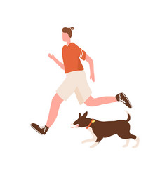 Active man enjoy morning jogging with dog vector