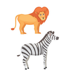 African animals cartoon set lion and zebra vector
