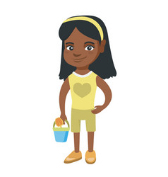 african girl in shorts holding pail and shovel vector image