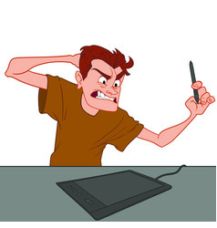 An angry man is angry because the graphics tablet vector