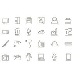 Appliances black icons set vector image