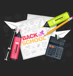 back to school supplies realistic vector image