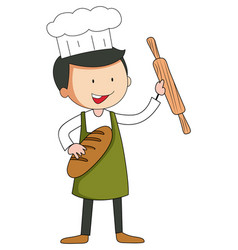 Baker man cartoon character in doodle style vector