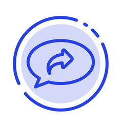 Basic chat arrow right blue dotted line line icon vector