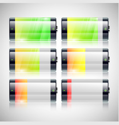 battery charge statuses set vector image