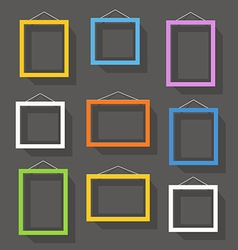 Blank picture frame set on the wall Template for a vector image