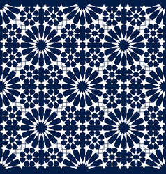 Blue and white moroccan motif tile pattern vector