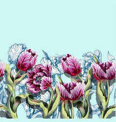 border with tulips flowers vector image