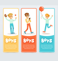 boys in different situations boys banners vector image