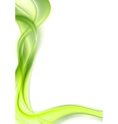 Bright green shiny smooth waves on white vector