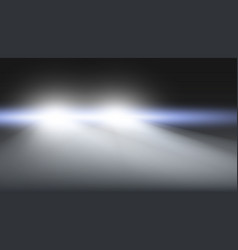 Car headlights flares glow in misty fog vector