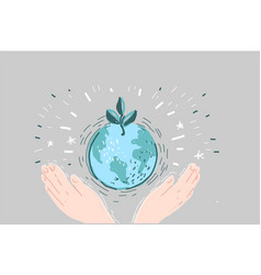 cartoon a hands holding earth vector image