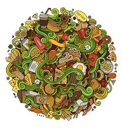 Cartoon cute doodles hand drawn Fastfood vector