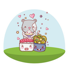 Cat and food kawaii cartoons vector