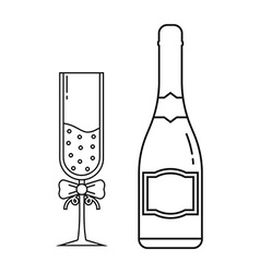 champagne bottle and goblet with bubbles and vector image