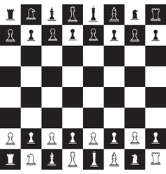 chessboard with black and white chess pieces eps10 vector image