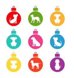 colorful christmas balls with different dogs vector image