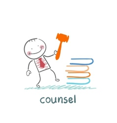 Counsel knocking on the books vector