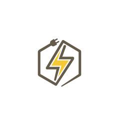 creative abstract bolt hexagon logo vector image