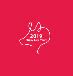 creative happy new year 2019 design with one line vector image
