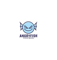 Cute cartoon monster fish happy head smile logo vector