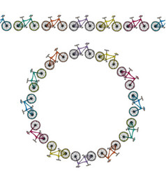 Endless pattern brush or ribbon of bicycles vector