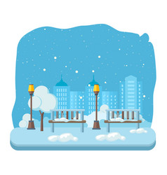 Evening park rest on backdrop city streets vector