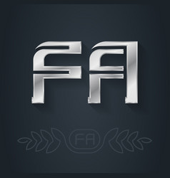 F and a initial silver logo mx - metallic 3d icon vector