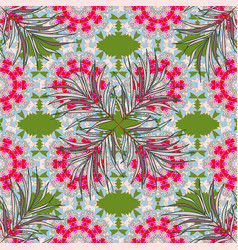 Floral ornament seamless pattern neutral green vector