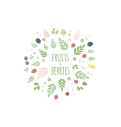 Frame with berries leaves and fruits vector image