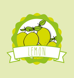 fresh natural fruit organic emblem design image vector image