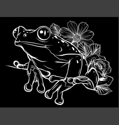 Frog with flower in black background vector