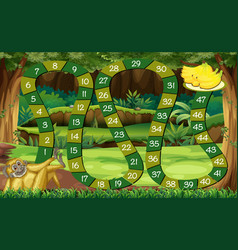 Game template with monkey in the forest vector