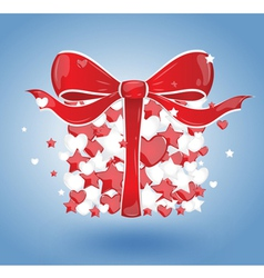 Gift with hearts and stars on a blue background vector image