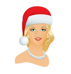 Girl in a Santa hat vector