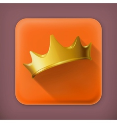 Golden crown flat icon vector image vector image