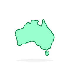 Green cartoon thin line australia icon vector