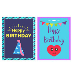 Happy birthday cap cards set vector