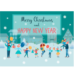 happy family people with children celebrate new vector image