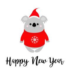 happy new year koala in red santa hat ugly vector image