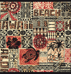 hawaiian style tribal fabric patchwork vector image