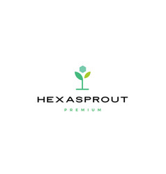 hexa sprout leaf hexagon logo icon vector image