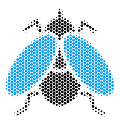 Hexagon halftone fly insect icon vector