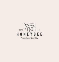 honey bee logo line outline monoline icon vector image