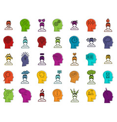 human idea icon set color outline style vector image