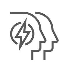 Human resource line icon mind power vector